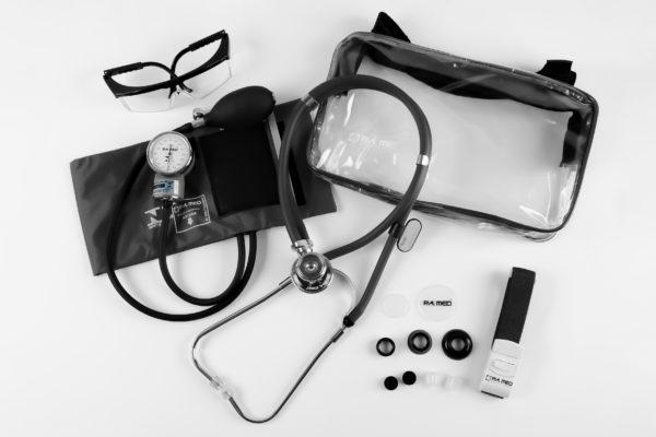 Kit Acadêmico com Bolsa Transparente preto (Ap. Pressão Art. Adulto Nylon Fecho de Contato + Estetoscópio Rappaport – P.A. MED
