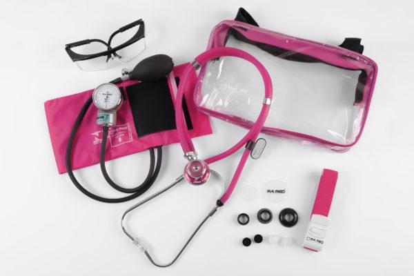 Kit Acadêmico com Bolsa Transparente rosa (Ap. Pressão Art. Adulto Nylon Fecho de Contato + Estetoscópio Rappaport – P.A. MED